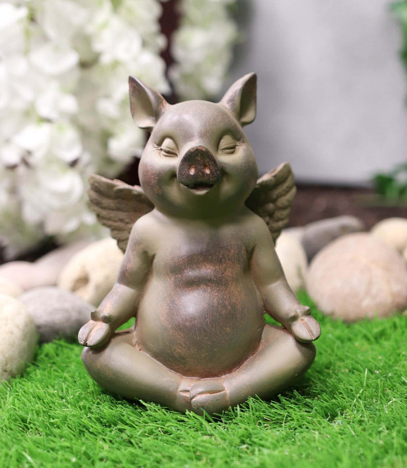 Zen Yoga Flying Pig Angel Hog Heavens Meditating In Lotus Pose Rustic Statue