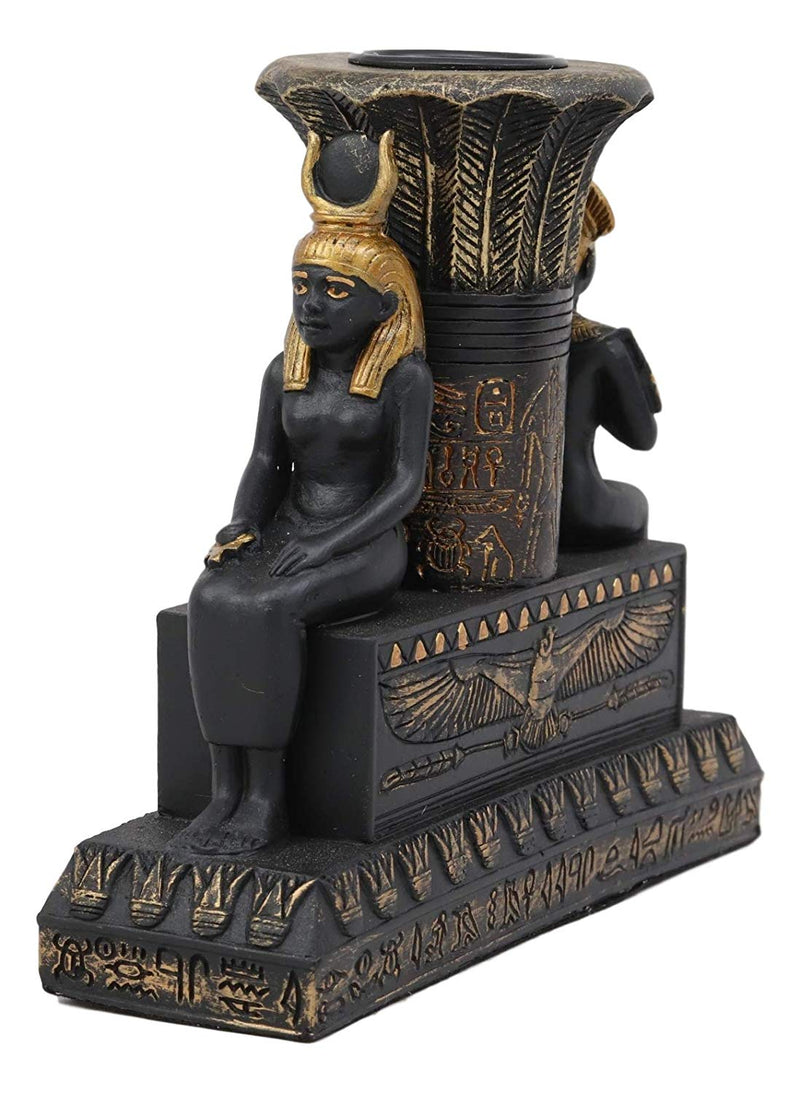 Ebros Ancient Egypt Black and Gold Seated Isis and Osiris Pillar Candle Holder