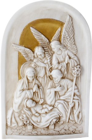 Ebros Birth of Jesus Wall Plaque Resin Nativity Mary Joseph and Angels Christian Art Figurine Collectible
