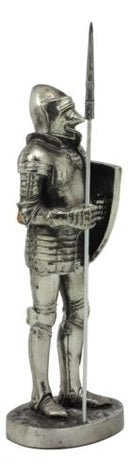Ebros Armored Guard Halberdier Knight with Pole Spear and Shield Statue Electroplated Silver Resin Suit of Armor Pikeman Medieval Renaissance Decor Figurine - Ebros Gift