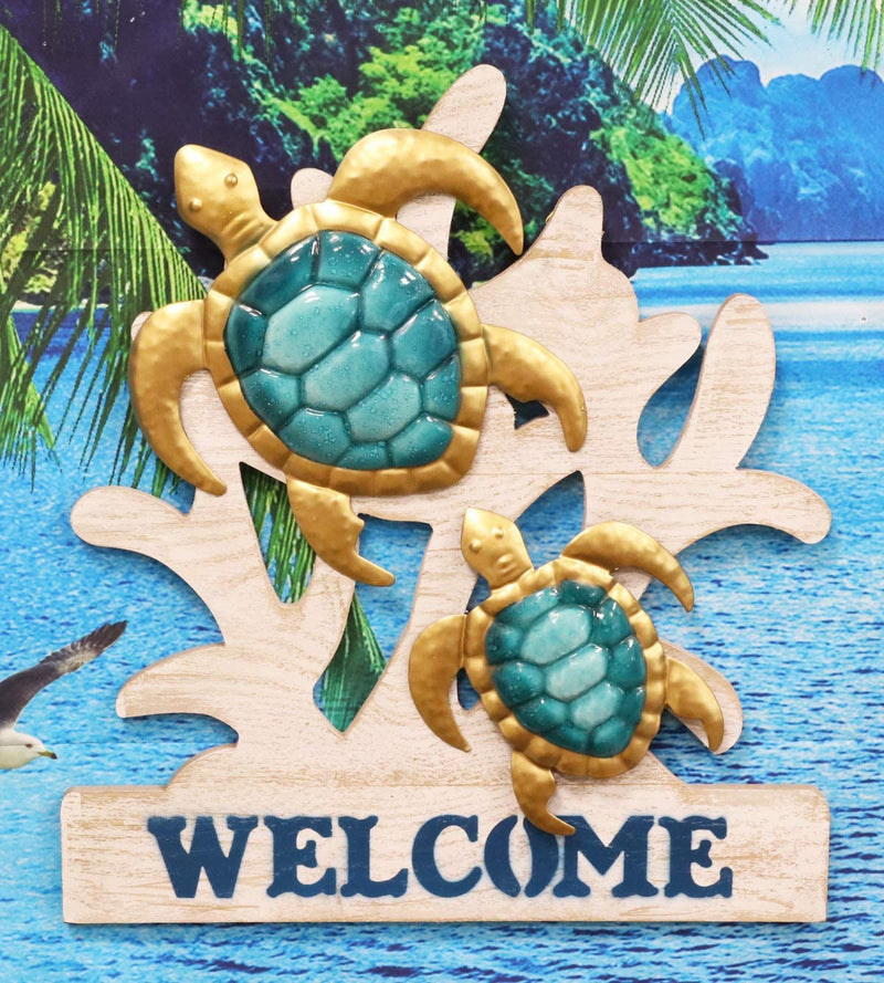"Ebros Aluminum Sea Turtles With Welcome Sign Hanging Wall Decor Plaque 17.5""Tall"