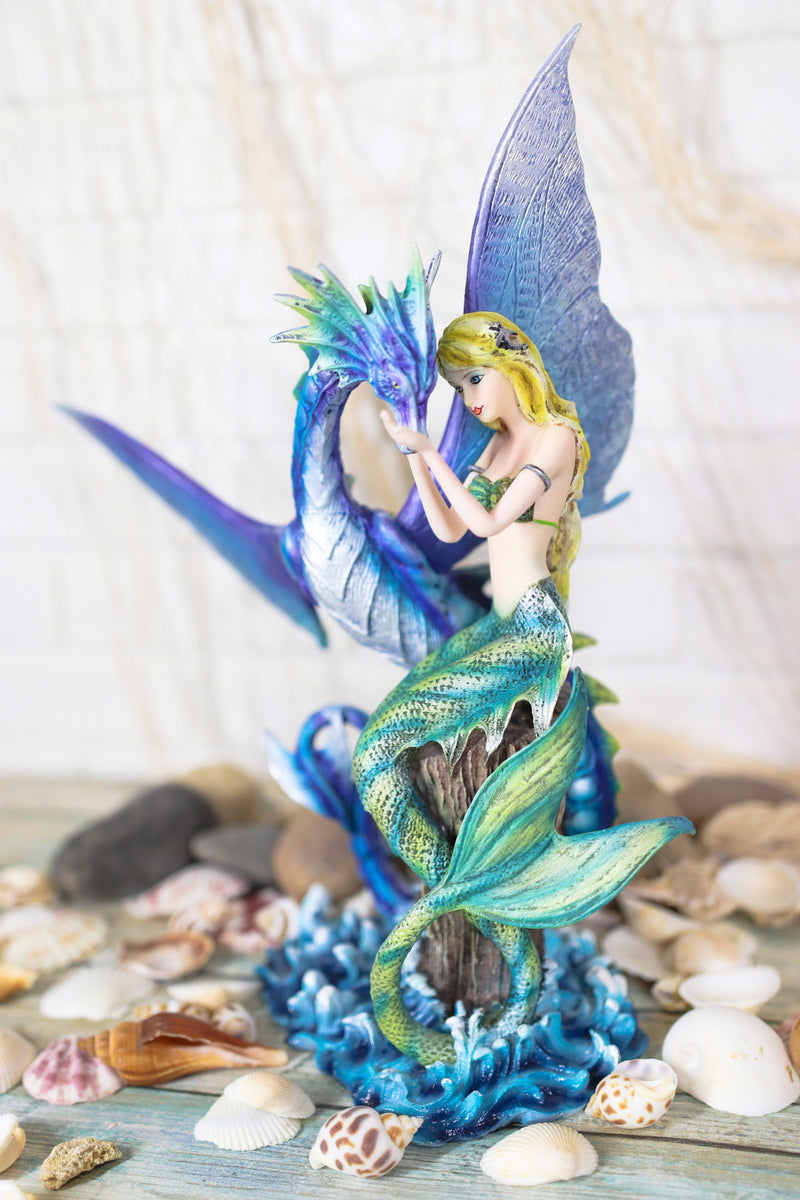 Nautical Green Tail Mermaid Ariel With Leviathan Ocean Dragon Fairy Pixie Statue