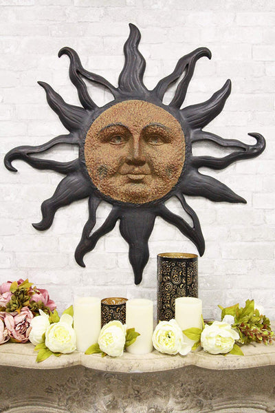 "Ebros Aluminum Metal Belenos Celestial Solar Radiant Celtic Sun God Wall Hanging Decor 36.25"" Diameter Figurine Home Decorative Rising Sun Face Plaque 3D Art Belenus The Shining God Sculpture"