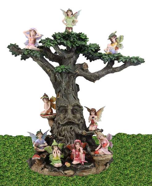 Ebros Gift Enchanted Fairy Garden Starter Kit Set for Adults and Kids 10 Piece Set Made of 9 Miniature Boy and Girl Faeries and One Greenman Tree House Display Stand Statue Home Decorative Figurine