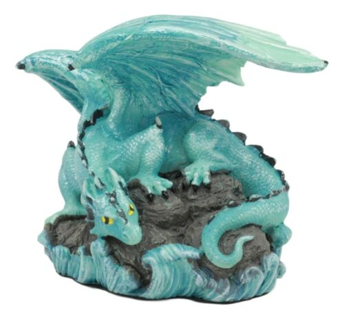 "Ebros Small Aqua Blue Whimsical Dragon On Ocean Rock Statue 3.75""Long Fantasy"
