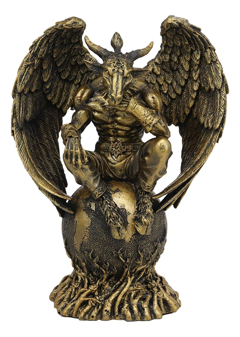 "Ebros Gift Sabbatic Goat The Thinker Baphomet Sitting On The Globe Statue 7.75"" Tall Baphomet With Pentagram Star Altar Figurine - Ebros Gift"