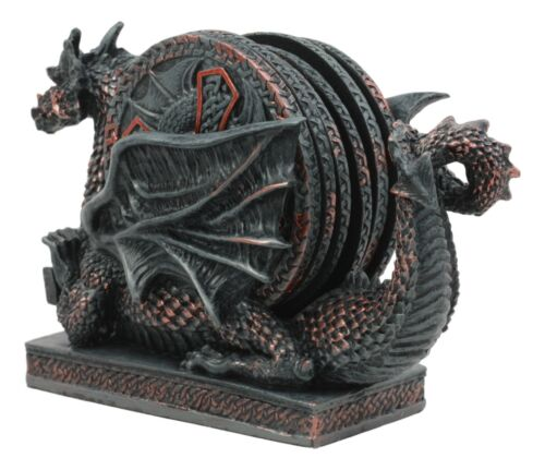 Voyage Of The Rune Celtic Dragon Coaster Set Figurine With Five Round Coasters
