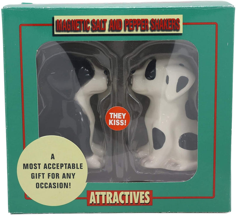Ebros Ceramic Black & White Mutt Puppy Dogs Kissing Salt And Pepper Shakers Set