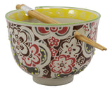 "Ebros Gift Persian Summer Colorful Floral Blossoms Ramen Udong Noodles 5"" Diameter Bowl With Built In Chopsticks Rest and Bamboo Chopstick Set for Dining Soup Rice Meal Bowls Decor Kitchen"