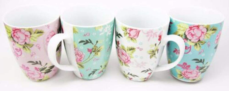 "Ebros Victorian Floral Blossoms Porcelain 8oz Mug 4""Tall Coffee Tea Cup Set of 4"