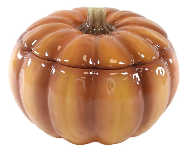 Home Kitchen Gourmet Hearty Orange Ceramic Pumpkin Soup Or Dessert Bowl With Lid