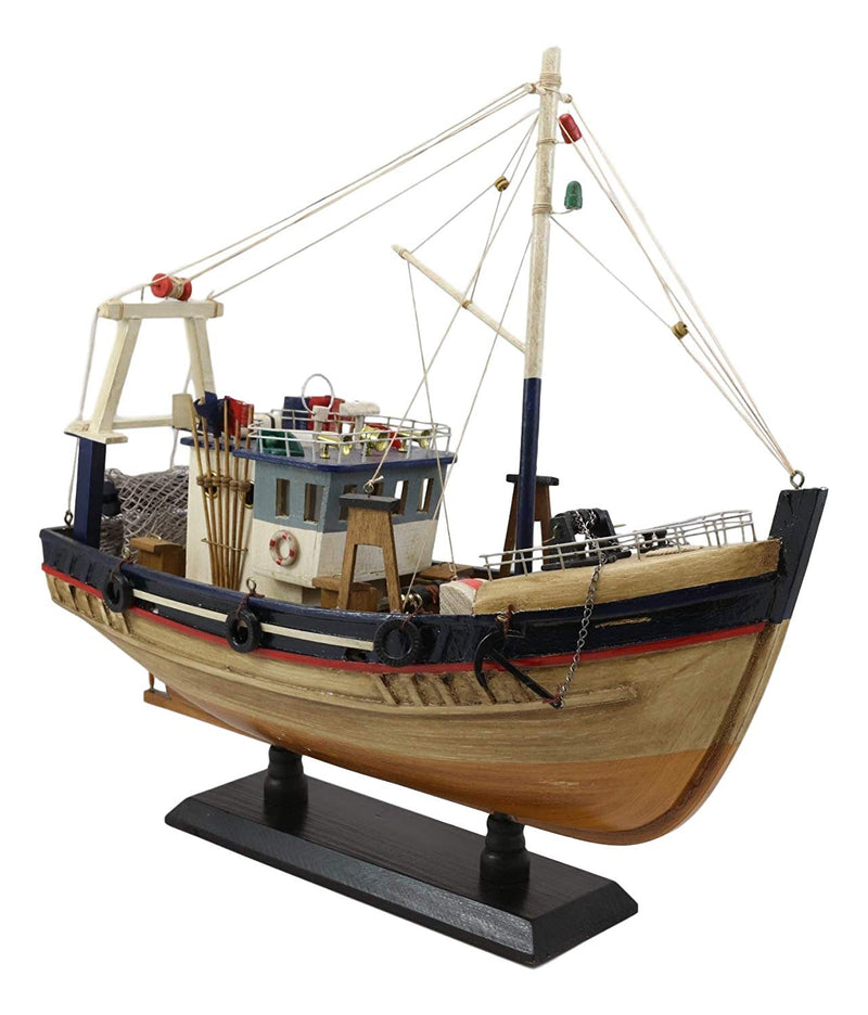 "Ebros 17""L Wooden Handicraft Nautical Fishing Vessel Boat Model with Wood Base - Ebros Gift"