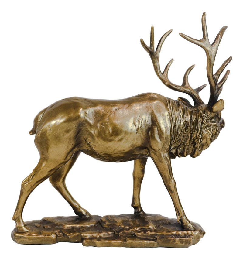 Large Wapiti Bull Elk Deer With Towering Antlers Rustic Statue In Gold Patina