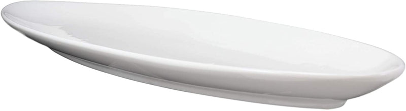 "Contemporary Sleek Style White Porcelain Oval Plate Serving Platter 16""L 3 Pack"