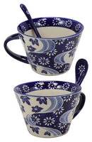 Ebros Vintage Stylish Porcelain Coffee Tea Latte Cafe Mug Cereal Drink Cup With Spoon 2pc Set 12oz Home Kitchen Decorative Mugs Cups Ceramics (Blue Chrysanthemum Breeze, 2)