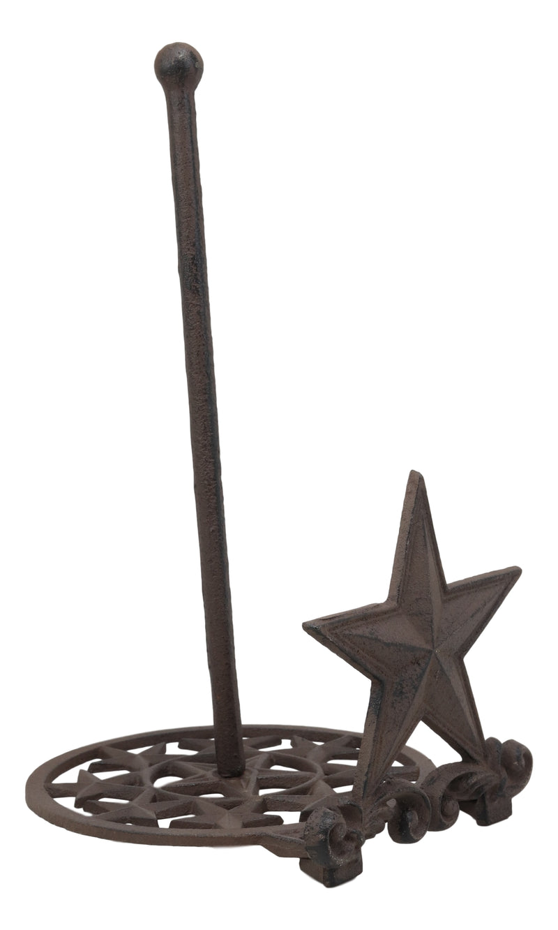 "Ebros 13.75""Tall Metal Rustic Country Western Star With Scroll Art Design Paper Towel Holder Display Dispenser Stand Wild West Stars Kitchen Bathroom Home Decor In Aged Bronze Finish"