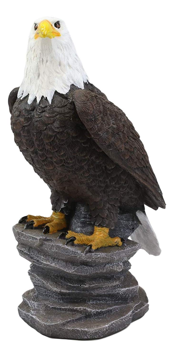 "Ebros 9"" Tall Realistic American Pride Majestic Bald Eagle Perching On Cliff Rock Statue USA National Emblem Eagles Independence Day American Gallery Quality Home Patio Decor Figurine"