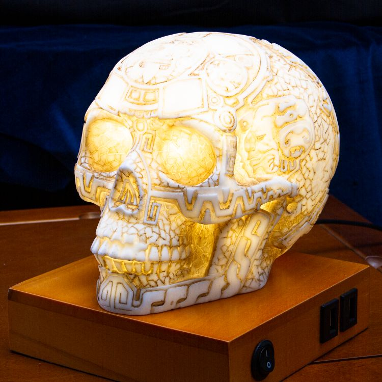 Mesoamerican Maya Aztec Skull LED Night Light Statue With USB Charging Wood Base