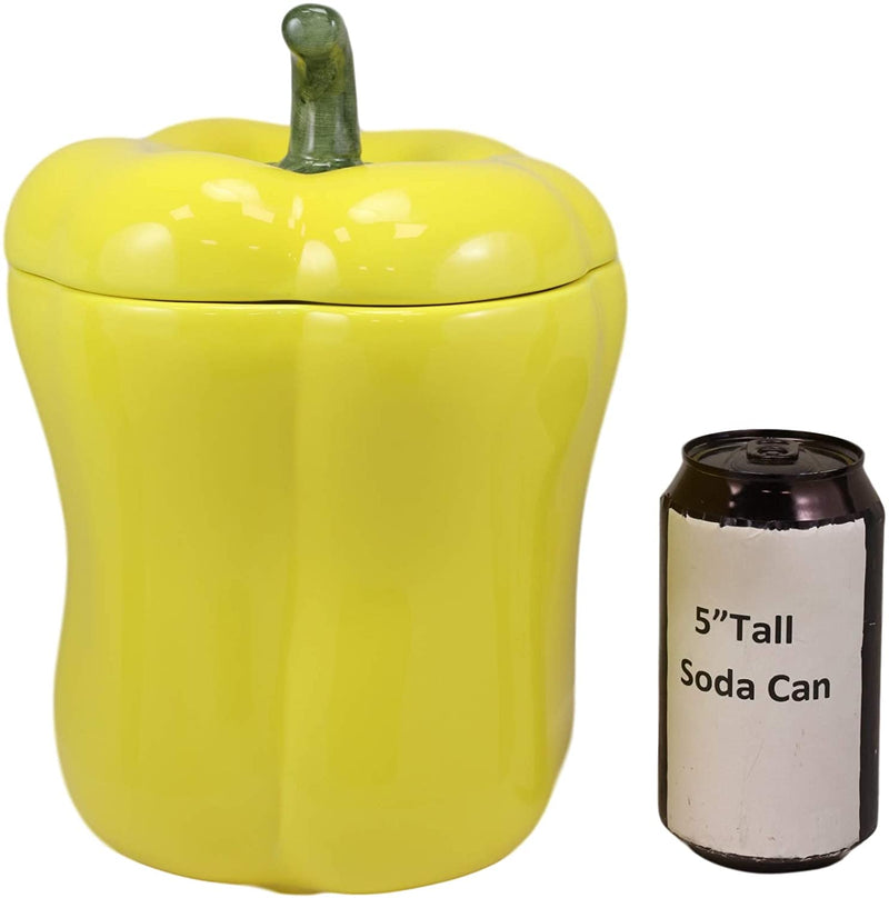 "Ebros 10"" H Ceramic Yellow Bell Pepper Vegetable Canister Container Jar With Lid"