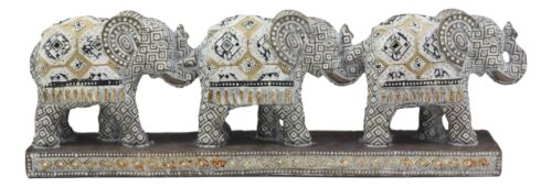 "Ebros Feng Shui Three Silver Geometric Elephants Statue with Unique Tapestry Blanket Design 12.75"" Long Elephant Family Migration Figurine"