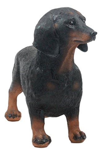 "Ebros Adorable Black And Tan Dachshund Dog Statue 8"" Long Schnitzel Sausage Wiener Dog Figurine"