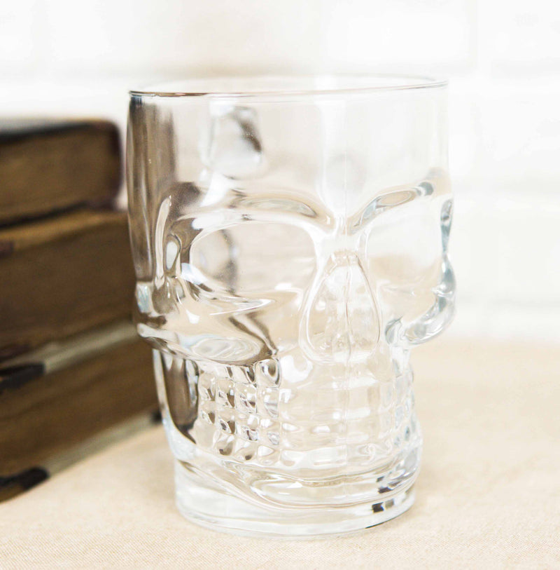 Day of The Dead Grinning Skull Cranium Novelty Glass Mug With Bone Handle Cup