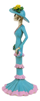 Day Of The Dead Blue Socialite Senorita Fashion Ballroom Skeleton Lady Statue