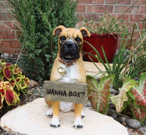 "Ebros Large Adorable Fawn Boxer Dog Guest Greeter Statue with Jingle Collar 13.25"" Tall Canine Home and Garden Decor Realistic Design for Pedigree Boxers Fans Housewarming Gifts"