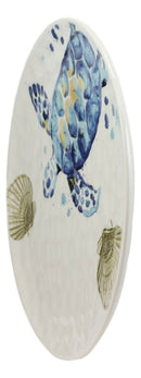 Marine Blue Sea Turtle And Golden Sea Shells Ceramic Dinner Plates Set Of 2