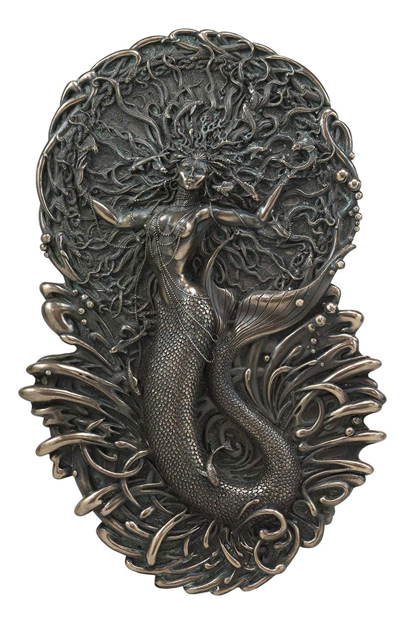 Ebros Celtic Irish Mythology Mermaid Triple Goddess Aine Wall Decor Deity of The Sun Wealth Love Fertility and Sovereignty Hanging Plaque Mother Maiden Crone by Maxine Miller (Bronze Patina Resin) (Bronze Patina Resin)