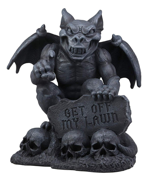 "Ebros Large Grendel's Warning Gothic Evil Winged Guardian Gargoyle by Skull Graveyard Statue Guest Greeter with Get Off My Lawn Sign 15"" Tall Sculpture Figurine Medieval Home Garden Patio Decor"
