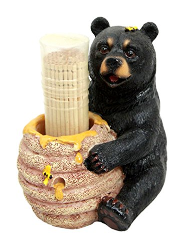 Ebros Gift Honey Black Bear With Bee Hive Decorative Toothpick Holder Figurine With Toothpicks