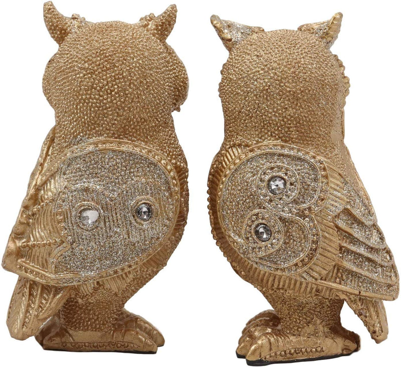"Ebros 4.75"" Tall Royal Golden Owl Couple with Glitter Crystals Lace Design Figurine Set of 2 Wisdom of The Woods Wise Great Horned Owl Collectible Statue Accent Decor of Owls Theme - Ebros Gift"