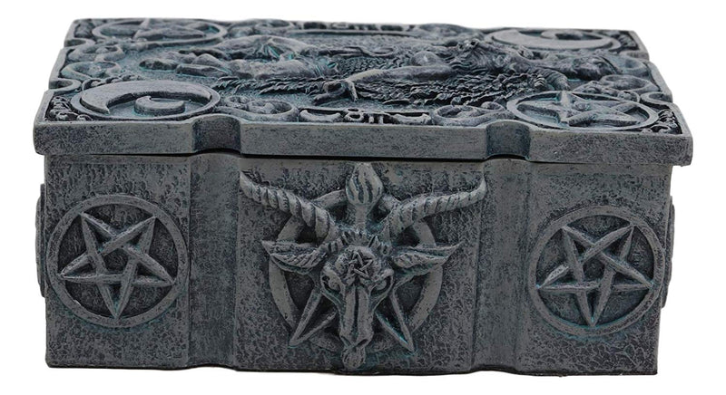 "Ebros 4.5"" Long Sabbatic Goat Baphomet with Crescent Moons and Pentagram Trinket Decorative Box Small Jewelry Keepsake Altar Items Storage"