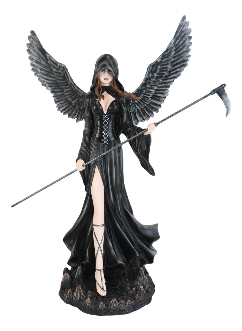 "Large 24""H Gothic Lady Grim Reaper Raven Dark Death Angel With Scythe Statue"