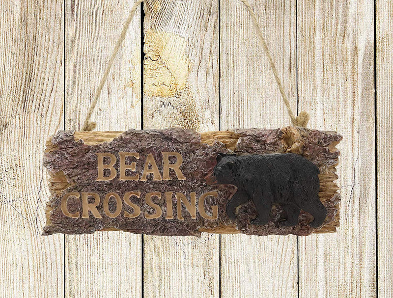 "Ebros 8.25"" Wide Rustic Bear Signs Black Bear Crossing Sign Hanging Wall Mounted Decor Plaque Western Country 3D Art Home Accent Sculpture Figurine"