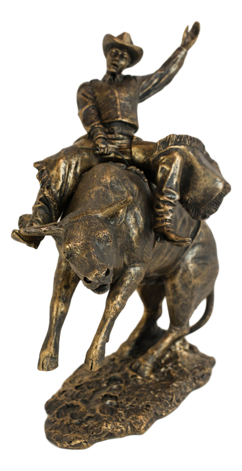 "Old World Rustic Western Cowboy Riding A Rearing Angry Bull Rodeo Statue 10""H"