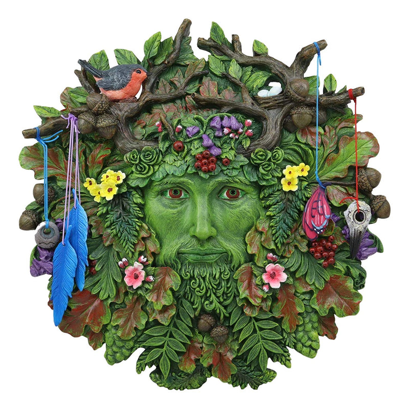 "Ebros Brigid Ashwood Colorful Nature Spirit God Celtic Greenman Hanging Wall Decor Plaque 12"" High Wiccan Tree of Life Forest Tree Ent Decorative Sculpture Mythical Fantasy Cernunnos Horned God"