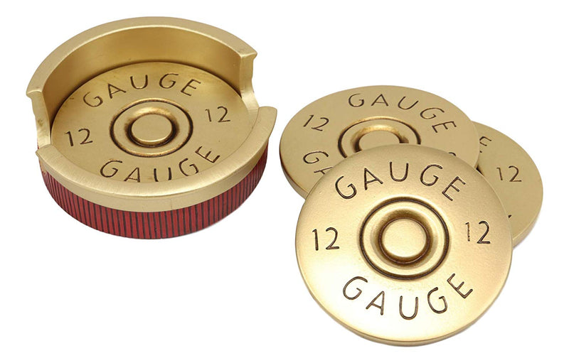 Western 12 Gauge Shotgun Shells Ammo Coaster Set With 4 Shell Casing Coasters