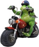 "Ebros 10"" Long Born to Ride Freedom Patriotic USA Frog Riding Red Chopper Motorcycle Bike Statue Biker Frogs Toads with American Flag Bandanna Home Decor Accent"