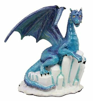 Ebros Gift Blue Snow Wraith Winter Dragon On Giant Ice Crystal Rocks Decorative Figurine 4 25 H