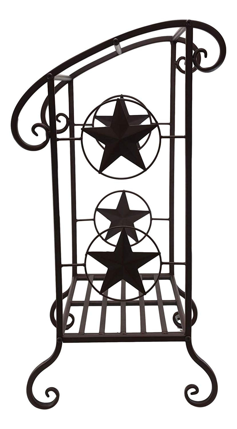 "Ebros 31.25"" Tall Aluminum Metal Vintage Western Stars Rustic Pedestal Floor Standing Towel Holder Rack Lone Star Decor 3 Tiered Bars and Racks for Towels Quilts - Ebros Gift"