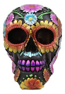 "Ebros Black Day of The Dead Floral Blooms Sugar Skull Figurine DOD Skulls Statue 6"" Long As Halloween Ossuary Macabre Decor Collectible (Spring Colorful Metallic Yellow Blue and Pink Flowers)"