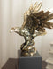 "Majestic Bald Eagle With Open Wings On Rock Gold Electroplated Resin Statue 11.5""H"