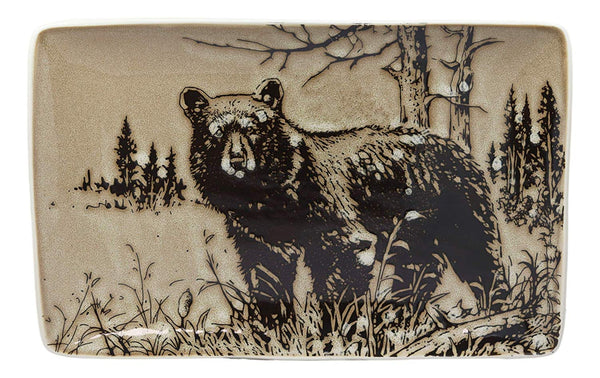 "Ebros Nature Animal Wildlife Woodland Forest Black Bear Abstract Art Large Rectangular Serving Plate or Platter 13.25"" Dishwasher And Microwave Safe Dinnerware Plates Dishes Of Bears Dining Decors"