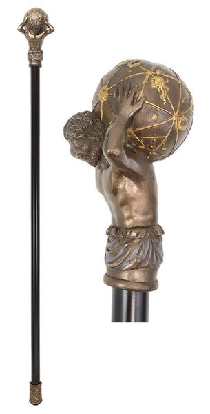 "Ebros Greek Titan God Atlas Bearing Globe Decorative Prop Walking Cane 39""H"