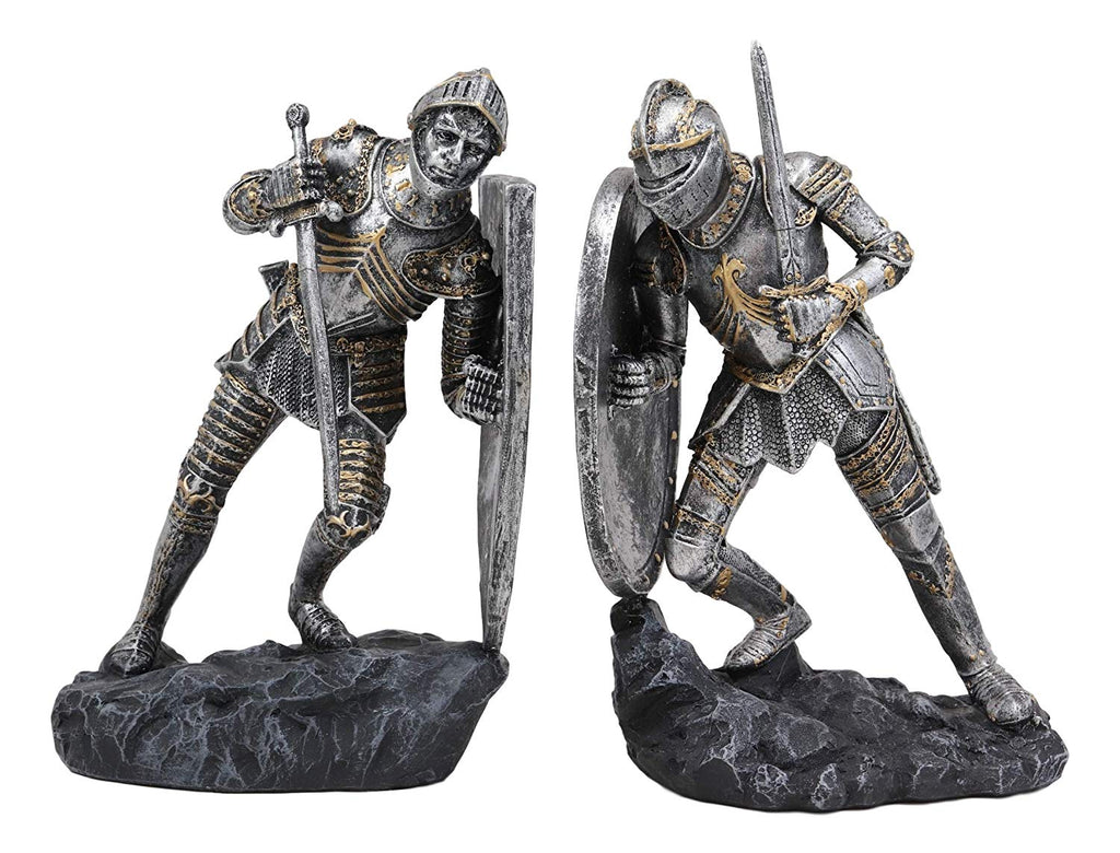 Ebros Black and White Medieval Crusader Knight Bookends Statue 7.5 Tall Set Suit of Armor Swordsman Knights of The Cross Age of Kings Decorative Bookends Sculpture