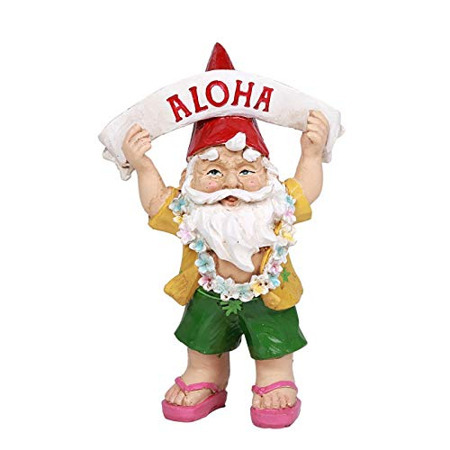 Ebros Free Spirited Hippie Hawaii Themed Vacation Fairy Garden Gnome Figurines Set of 4 DIY Mr and Mrs Gnomes Ukulele Surfer Aloha Hula Dancer Collection Statue Home Decor