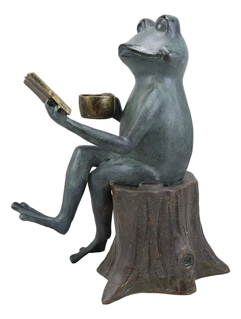 "Ebros Gift 15"" Tall Aluminum Metal Whimsical Bookworm Frog With Coffee Mug Cup Sitting On Tree Stump Garden Statue"