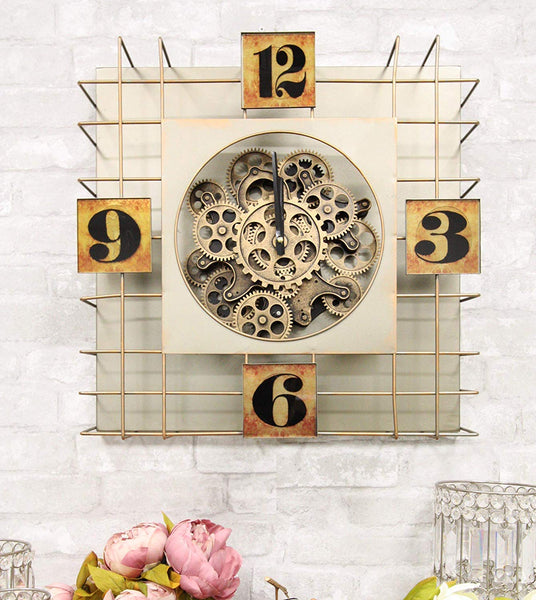"Ebros Large 19.5"" W Timeless Transitional Vintage Steampunk Industrial Square Cage Box Design Copper Finish Metal Wall Clock with 10 Mechanical Moving Gears Accent Clockwork Gearwork Clocks Decor"